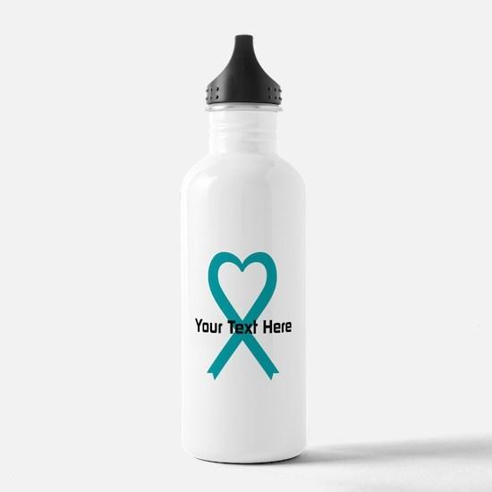 Personalized Teal Ribbon Heart Water Bottle