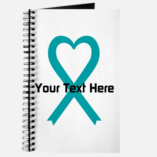 Personalized Teal Ribbon Heart Journal