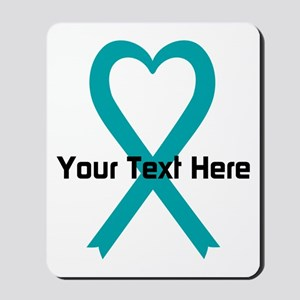 Personalized Teal Ribbon Heart Mousepad