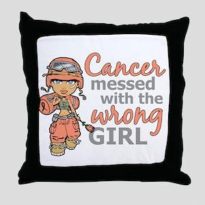 Combat Girl Uterine Cancer Throw Pillow