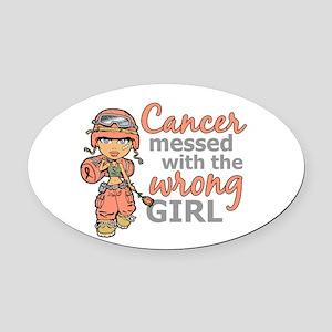 Combat Girl Uterine Cancer Oval Car Magnet
