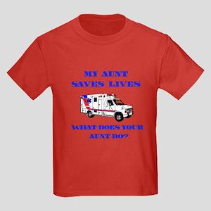 Ambulance Saves Lives-Aunt Kids Dark T-Shirt
