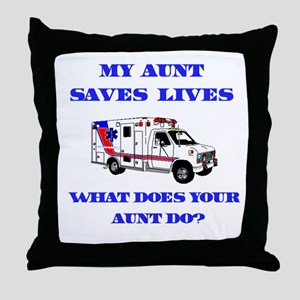 Ambulance Saves Lives-Aunt Throw Pillow