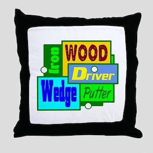 Golf Clubs Design Throw Pillow