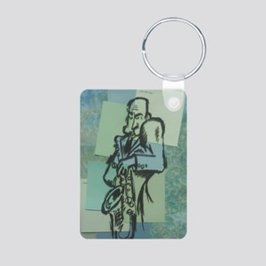 Jazz Saxophone Cool Blue Aluminum Photo Keychain