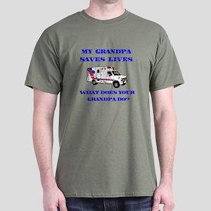 Ambulance Saves Lives-Grandpa Dark T-Shirt