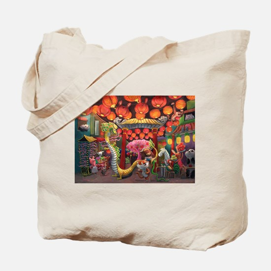 Animals of China Town Tote Bag