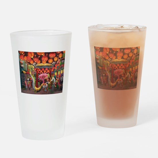 Animals of China Town Drinking Glass
