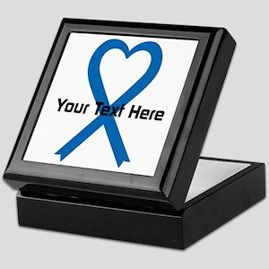 Personalized Blue Ribbon Heart Keepsake Box