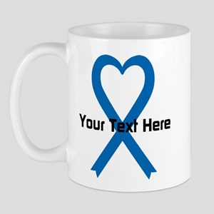 Personalized Blue Ribbon Heart Mug