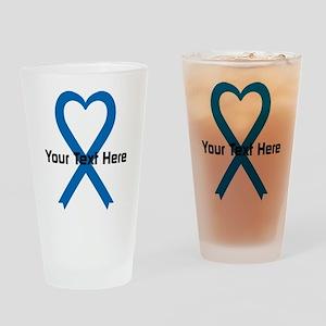 Personalized Blue Ribbon Heart Drinking Glass