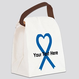 Personalized Blue Ribbon Heart Canvas Lunch Bag