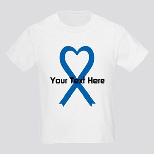 Personalized Blue Ribbon Heart Kids Light T-Shirt