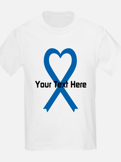 Personalized Blue Ribbon Heart T-Shirt