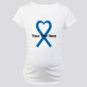 Personalized Blue Ribbon Heart Maternity T-Shirt