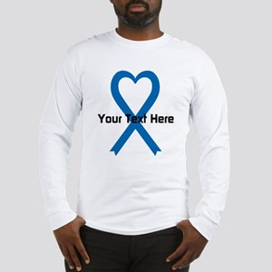 Personalized Blue Ribbon Heart Long Sleeve T-Shirt