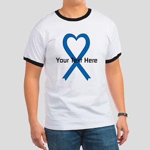 Personalized Blue Ribbon Heart Ringer T