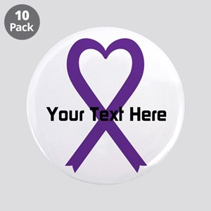 """Personalized Purple Ribbon H 3.5"""" Button (10 pack)"""