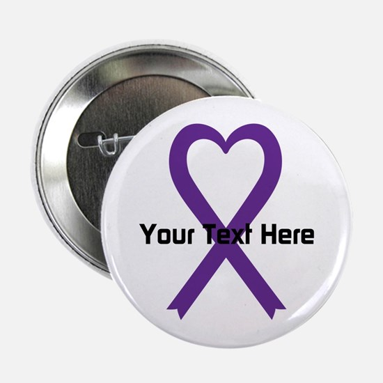 "Personalized Purple Ribbon 2.25"" Button (10 pack)"