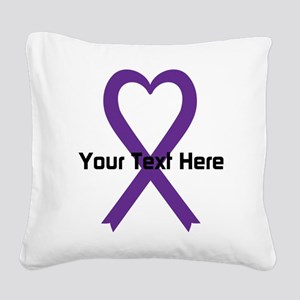 Personalized Purple Ribbon He Square Canvas Pillow
