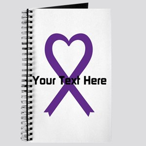 Personalized Purple Ribbon Heart Journal