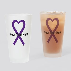 Personalized Purple Ribbon Heart Drinking Glass