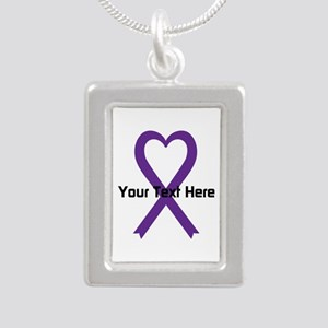 Personalized Purple Ribb Silver Portrait Necklace