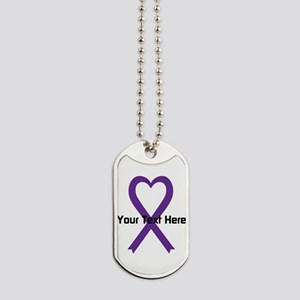 Personalized Purple Ribbon Heart Dog Tags