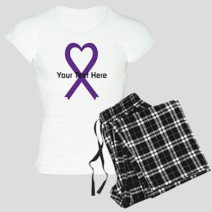 Personalized Purple Ribbon Women's Light Pajamas