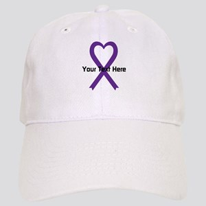 Personalized Purple Ribbon Heart Cap