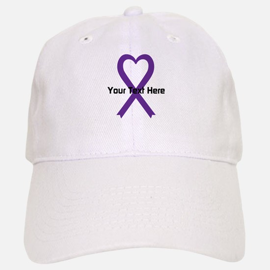 Personalized Purple Ribbon Heart Baseball Baseball Cap
