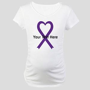Personalized Purple Ribbon Heart Maternity T-Shirt