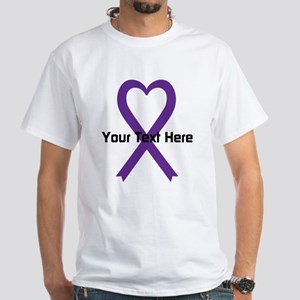 Personalized Purple Ribbon Heart White T-Shirt