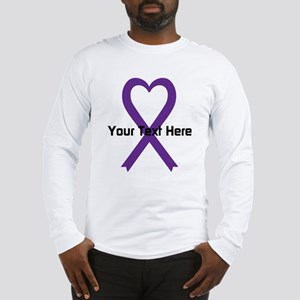 Personalized Purple Ribbon Hea Long Sleeve T-Shirt