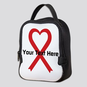 Personalized Red Ribbon Heart Neoprene Lunch Bag