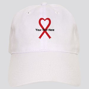 Personalized Red Ribbon Heart Cap