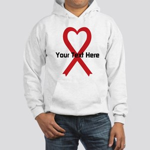 Personalized Red Ribbon Heart Hooded Sweatshirt