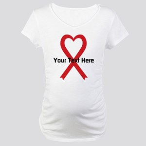 Personalized Red Ribbon Heart Maternity T-Shirt