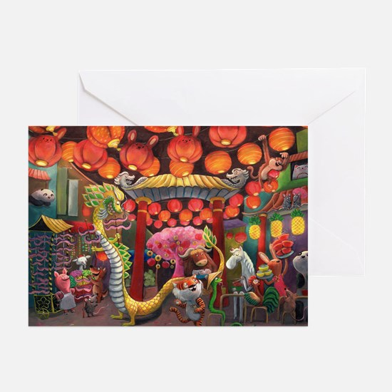Animals Of China Town Greeting Cards (Pk Of 10)
