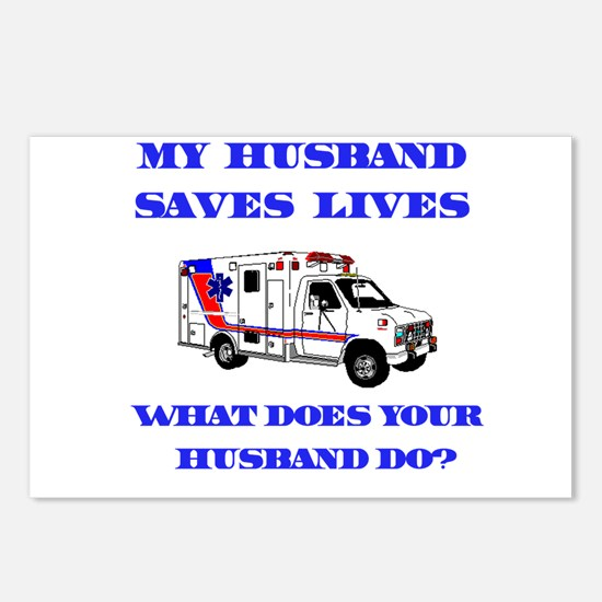 Ambulance Saves Lives-Husband Postcards (Package o