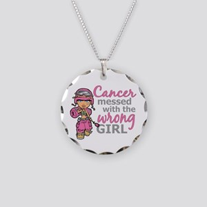 Combat Girl Breast Cancer Necklace Circle Charm
