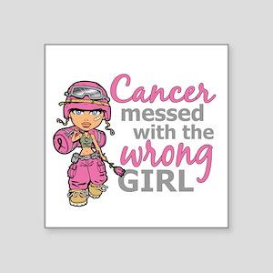 "Combat Girl Breast Cancer Square Sticker 3"" x 3"""