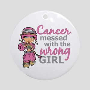 Combat Girl Breast Cancer Ornament (Round)