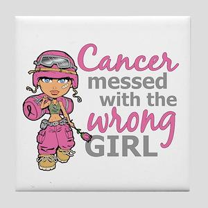 Combat Girl Breast Cancer Tile Coaster