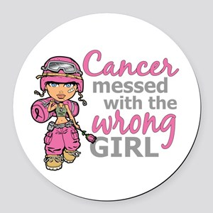 Combat Girl Breast Cancer Round Car Magnet