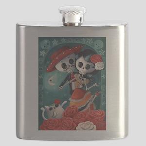 Dia de Los Muertos Mexican Lovers Flask