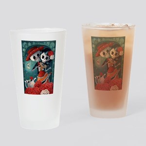 Dia de Los Muertos Mexican Lovers Drinking Glass