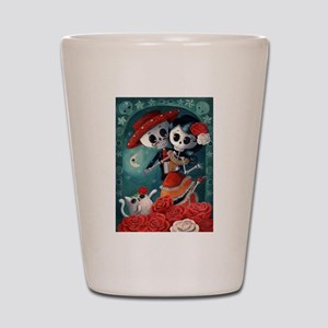 Dia de Los Muertos Mexican Lovers Shot Glass