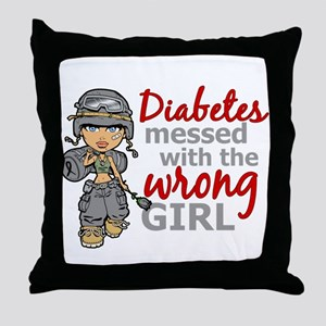 Combat Girl Diabetes Throw Pillow