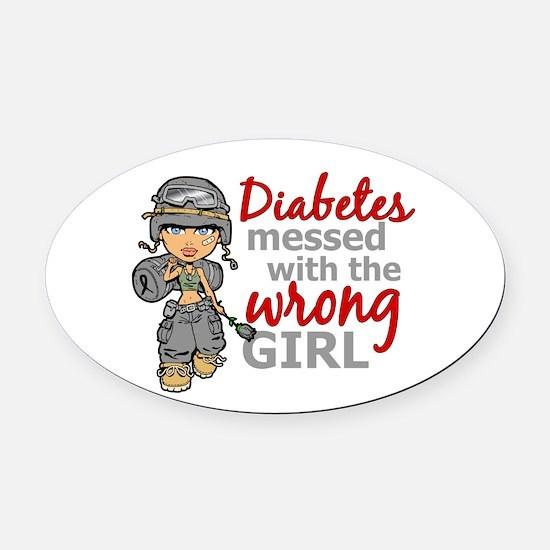 Combat Girl Diabetes Oval Car Magnet